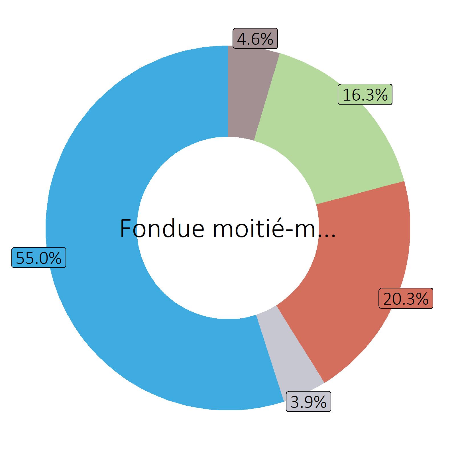 Bestandteile Fondue moitié-moitié, zubereitet